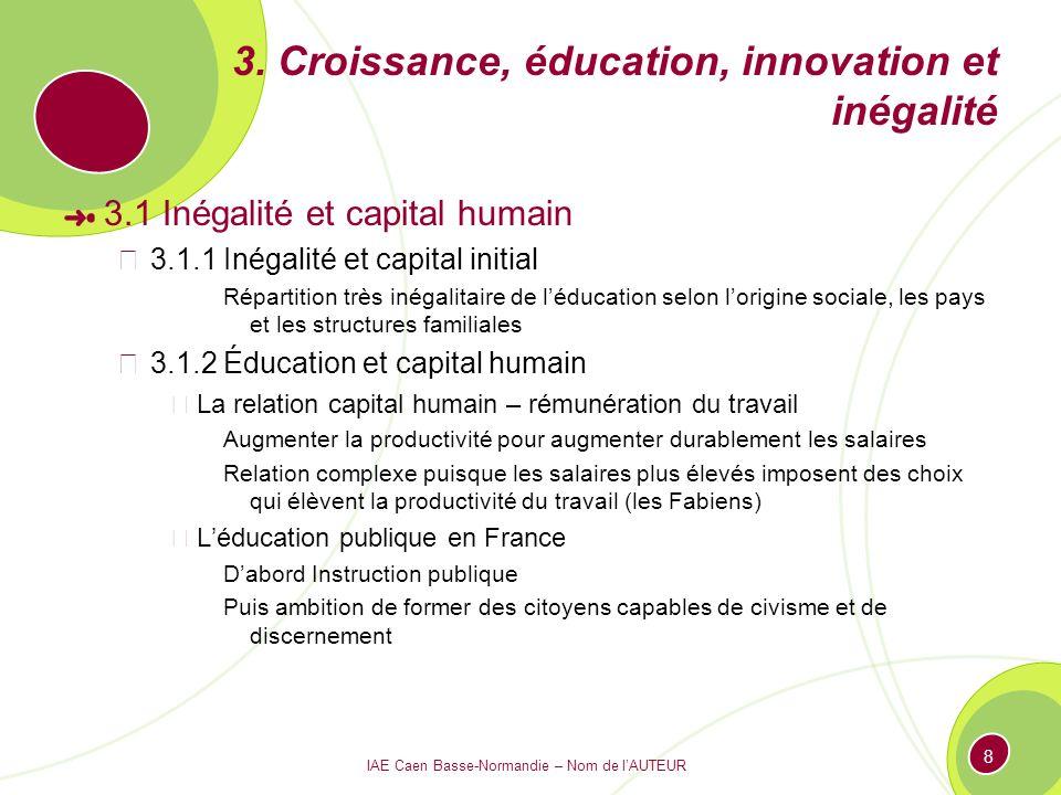 IAE Caen Basse-Normandie – Nom de lAUTEUR 8 3. Croissance, éducation, innovation et inégalité 3.1 Inégalité et capital humain 3.1.1 Inégalité et capit