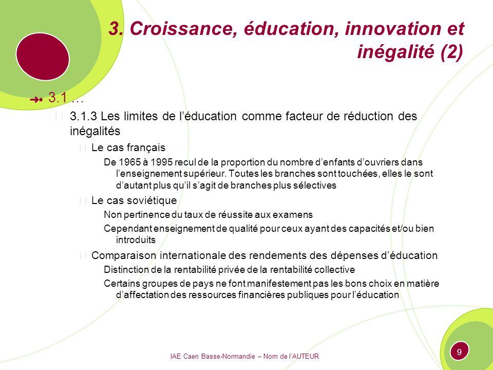 IAE Caen Basse-Normandie – Nom de lAUTEUR 9 3. Croissance, éducation, innovation et inégalité (2) 3.1 … 3.1.3 Les limites de léducation comme facteur