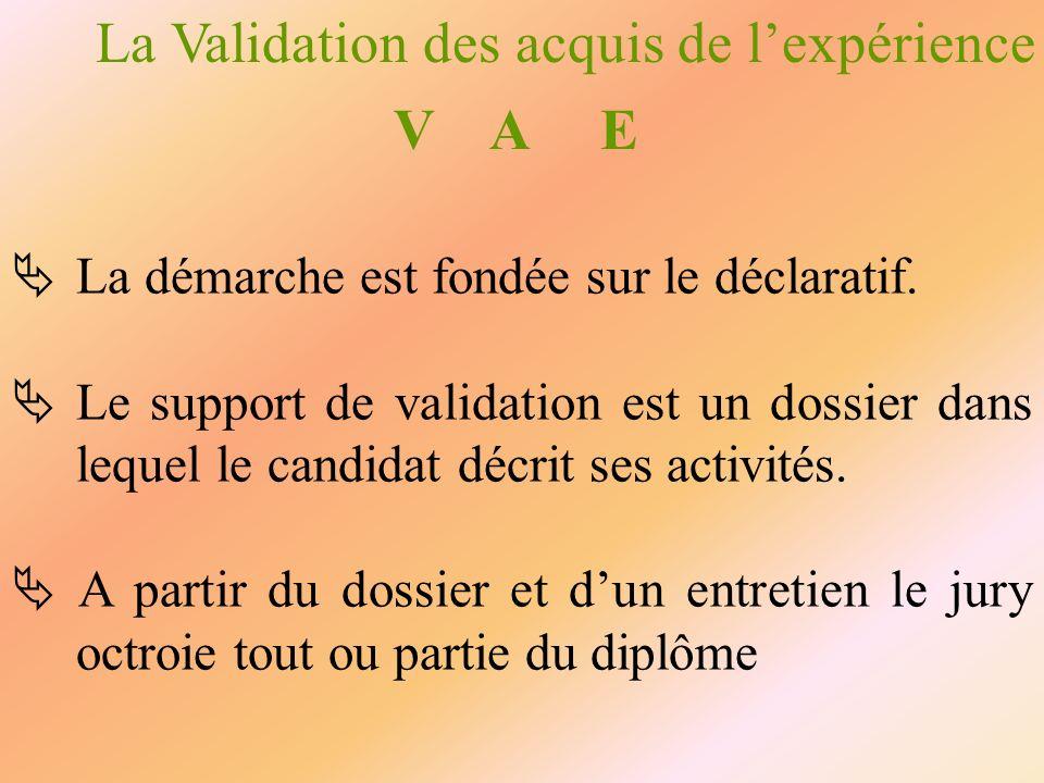 La Validation des acquis de lexpérience V A E La démarche est fondée sur le déclaratif. Le support de validation est un dossier dans lequel le candida
