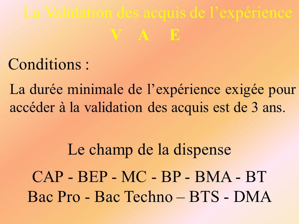 La Validation des acquis de lexpérience V A E Conditions : La durée minimale de lexpérience exigée pour accéder à la validation des acquis est de 3 an