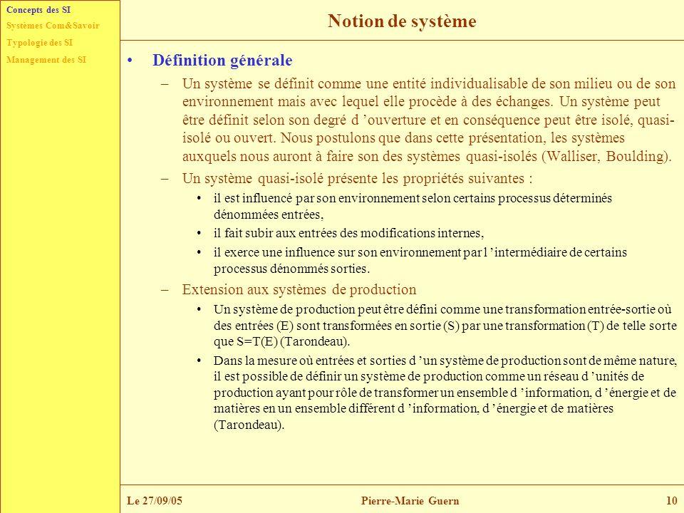 Typologie des SI Management des SI Systèmes Com&Savoir Le 27/09/05Pierre-Marie Guern10 Notion de système Définition générale –Un système se définit co