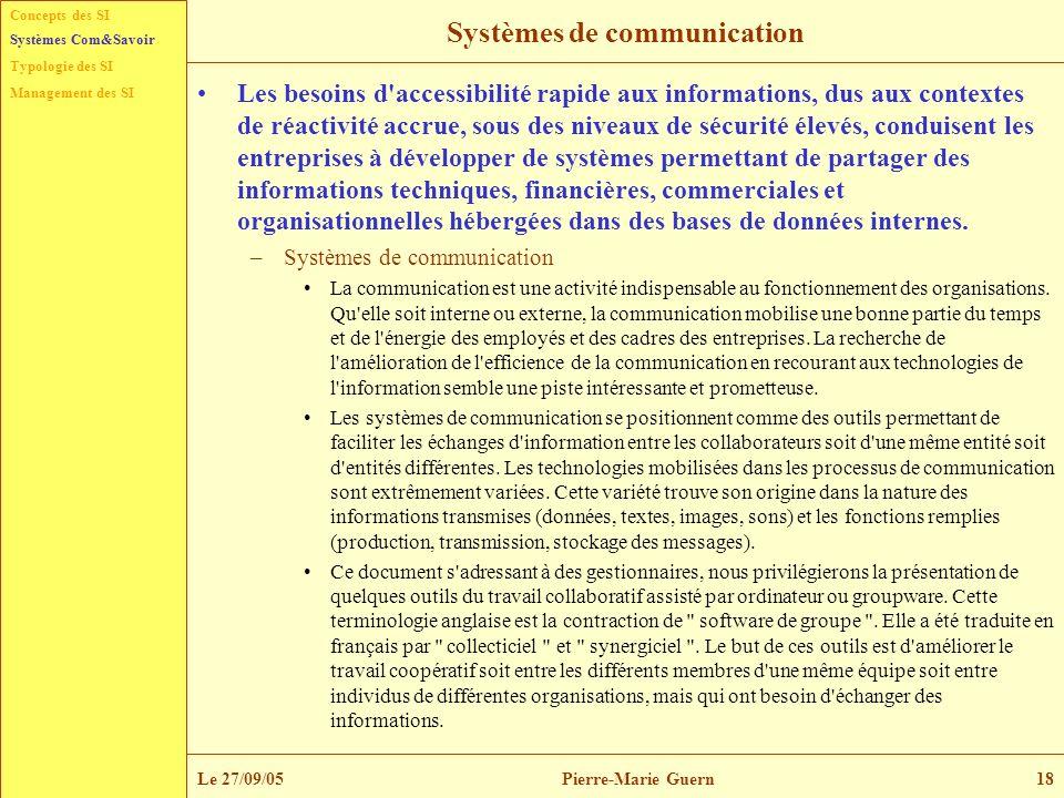 Typologie des SI Management des SI Systèmes Com&Savoir Le 27/09/05Pierre-Marie Guern18 Systèmes de communication Les besoins d'accessibilité rapide au