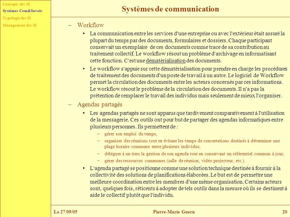 Concepts des SI Typologie des SI Management des SI Systèmes Com&Savoir Le 27/09/05Pierre-Marie Guern20 Systèmes de communication –Workflow La communic
