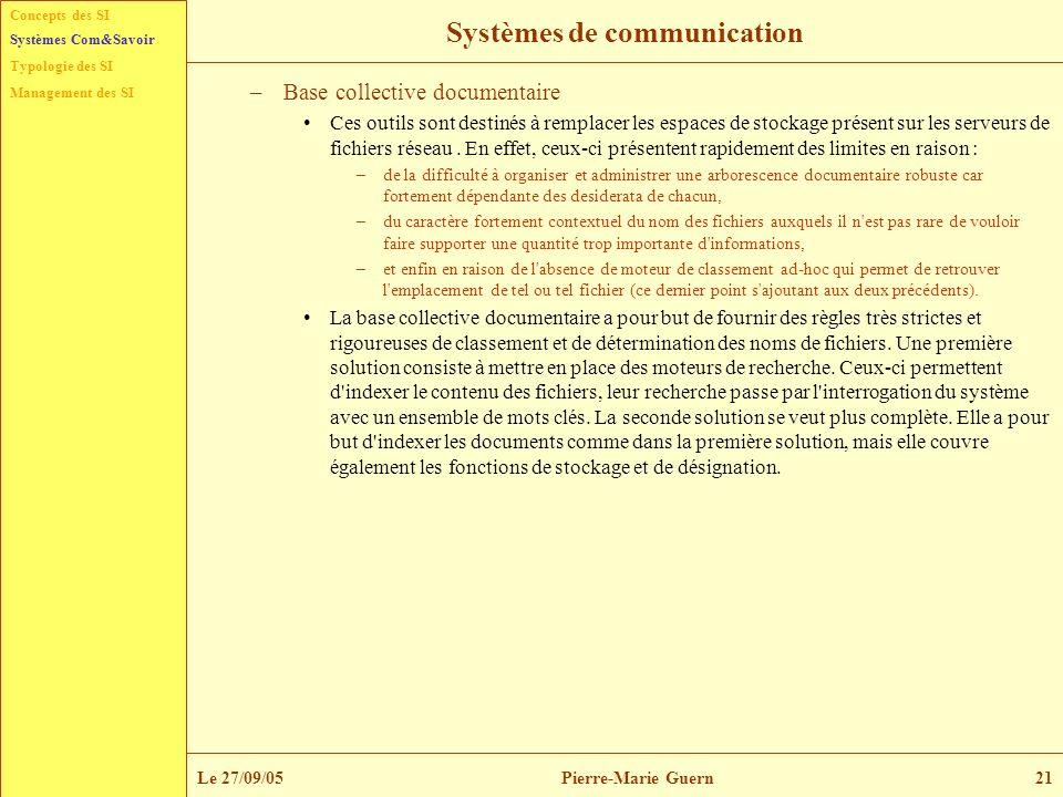 Concepts des SI Typologie des SI Management des SI Systèmes Com&Savoir Le 27/09/05Pierre-Marie Guern21 Systèmes de communication –Base collective docu