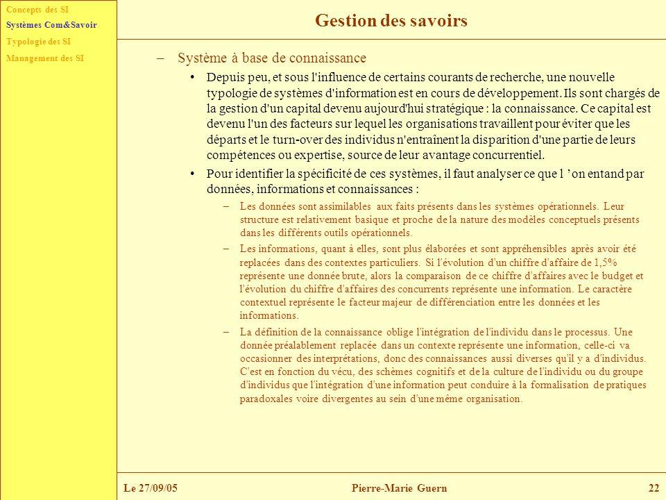 Concepts des SI Typologie des SI Management des SI Systèmes Com&Savoir Le 27/09/05Pierre-Marie Guern22 Gestion des savoirs –Système à base de connaiss