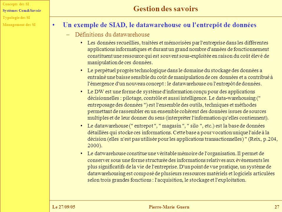 Concepts des SI Typologie des SI Management des SI Systèmes Com&Savoir Le 27/09/05Pierre-Marie Guern27 Gestion des savoirs Un exemple de SIAD, le data