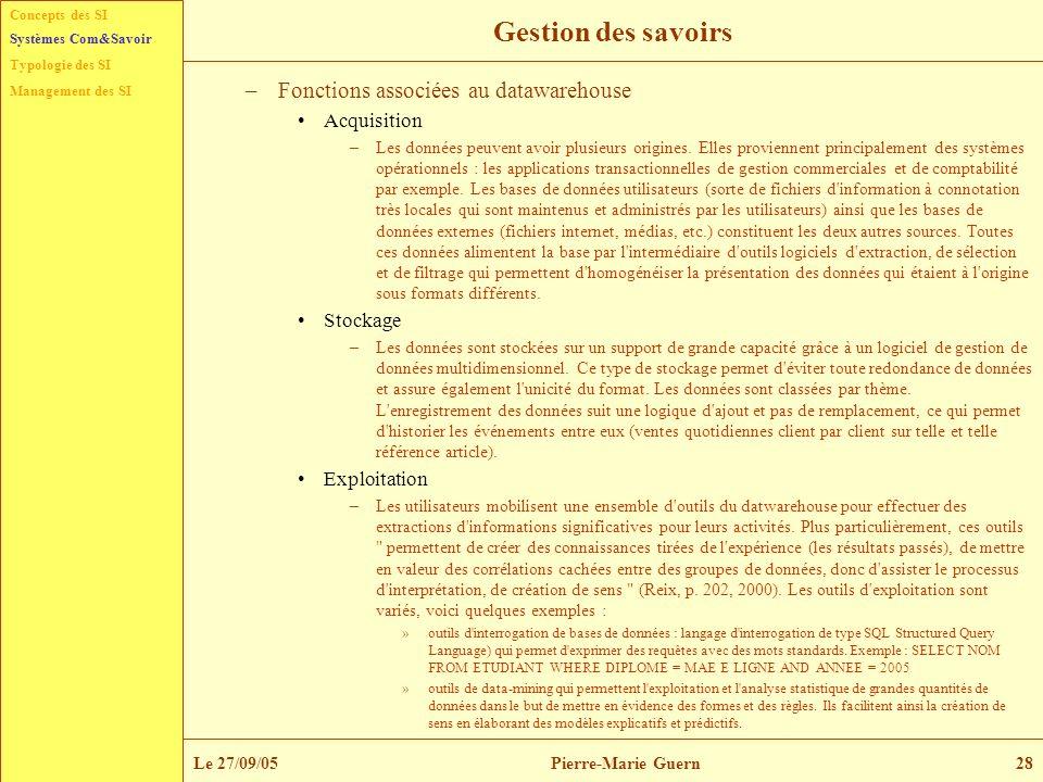 Concepts des SI Typologie des SI Management des SI Systèmes Com&Savoir Le 27/09/05Pierre-Marie Guern28 Gestion des savoirs –Fonctions associées au dat