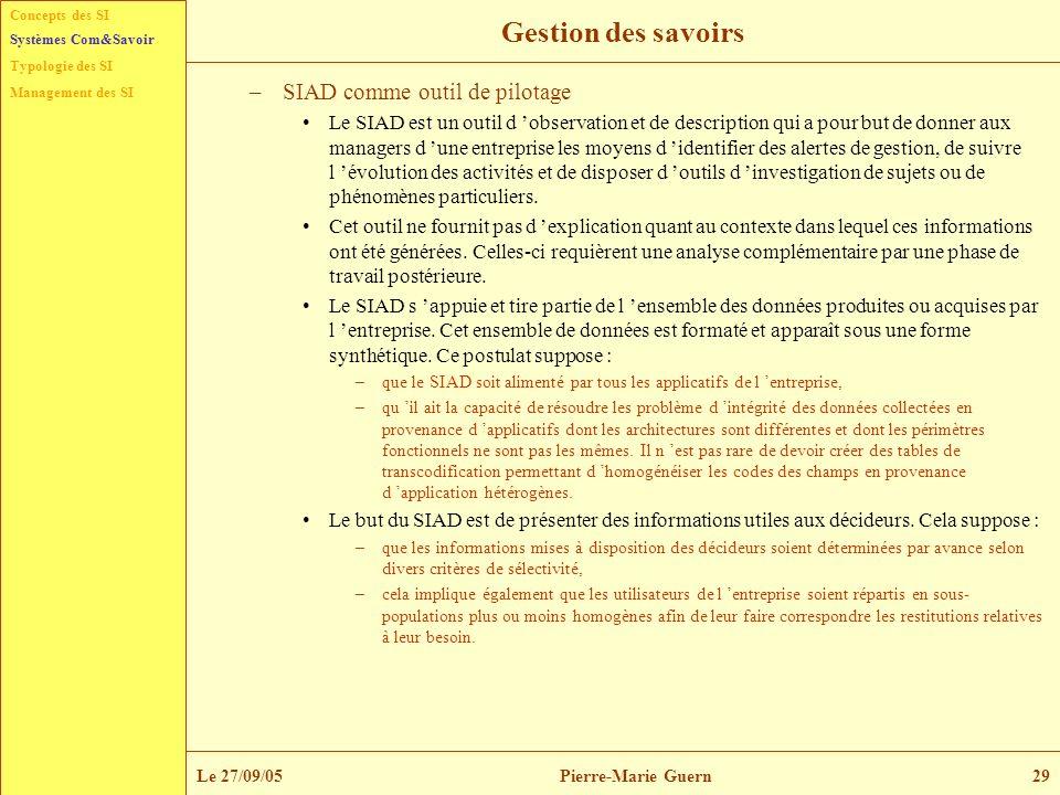 Concepts des SI Typologie des SI Management des SI Systèmes Com&Savoir Le 27/09/05Pierre-Marie Guern29 Gestion des savoirs –SIAD comme outil de pilota