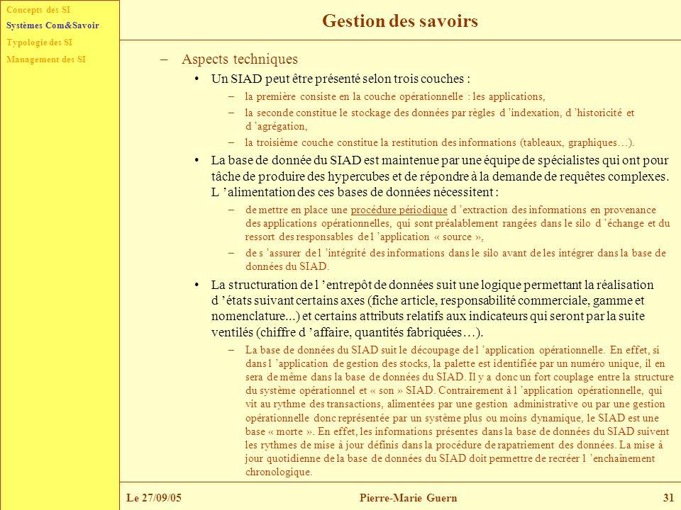 Concepts des SI Typologie des SI Management des SI Systèmes Com&Savoir Le 27/09/05Pierre-Marie Guern31 Gestion des savoirs –Aspects techniques Un SIAD