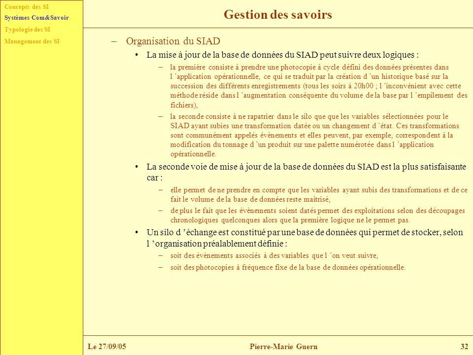 Concepts des SI Typologie des SI Management des SI Systèmes Com&Savoir Le 27/09/05Pierre-Marie Guern32 Gestion des savoirs –Organisation du SIAD La mi