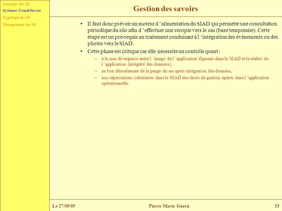 Concepts des SI Typologie des SI Management des SI Systèmes Com&Savoir Le 27/09/05Pierre-Marie Guern33 Gestion des savoirs Il faut donc prévoir un mot