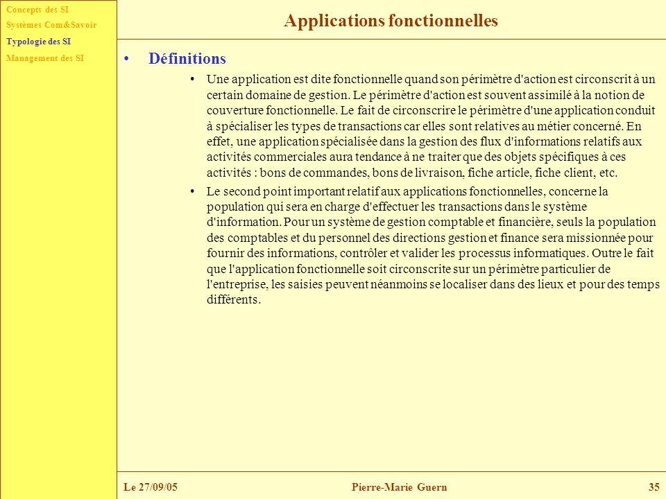 Concepts des SI Typologie des SI Management des SI Systèmes Com&Savoir Le 27/09/05Pierre-Marie Guern35 Applications fonctionnelles Définitions Une app