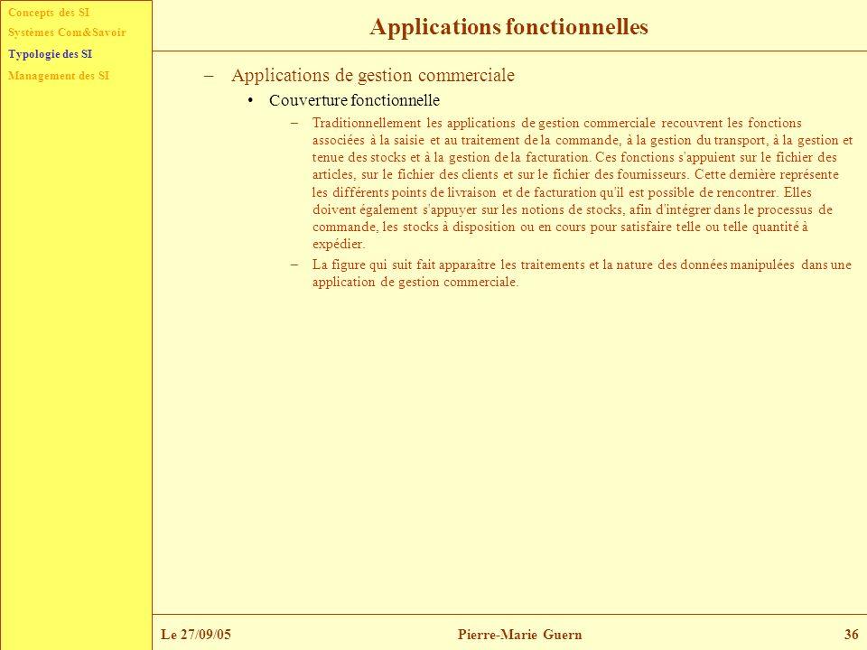 Concepts des SI Typologie des SI Management des SI Systèmes Com&Savoir Le 27/09/05Pierre-Marie Guern36 Applications fonctionnelles –Applications de ge