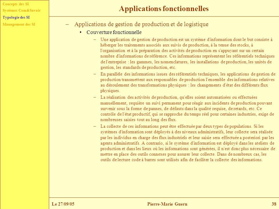 Concepts des SI Typologie des SI Management des SI Systèmes Com&Savoir Le 27/09/05Pierre-Marie Guern38 Applications fonctionnelles –Applications de ge