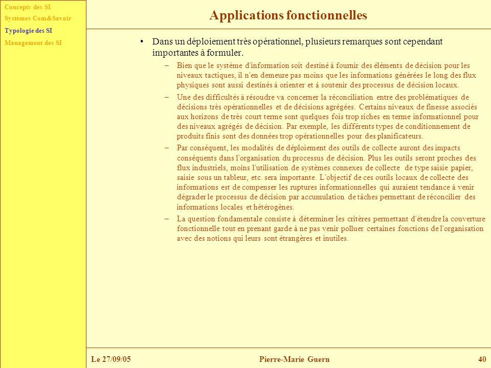 Concepts des SI Typologie des SI Management des SI Systèmes Com&Savoir Le 27/09/05Pierre-Marie Guern40 Applications fonctionnelles Dans un déploiement