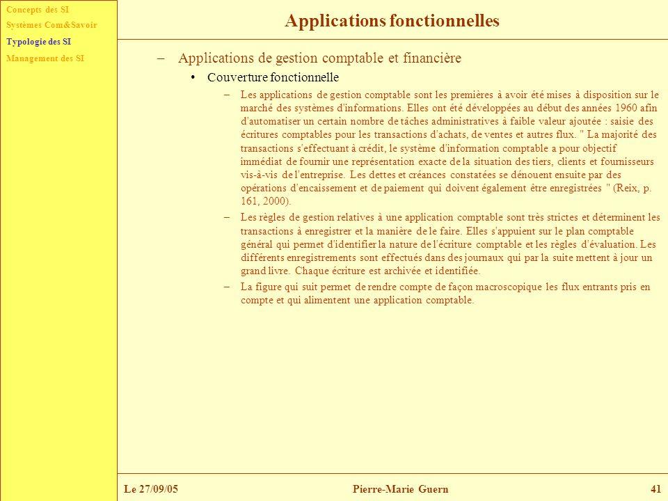 Concepts des SI Typologie des SI Management des SI Systèmes Com&Savoir Le 27/09/05Pierre-Marie Guern41 Applications fonctionnelles –Applications de ge