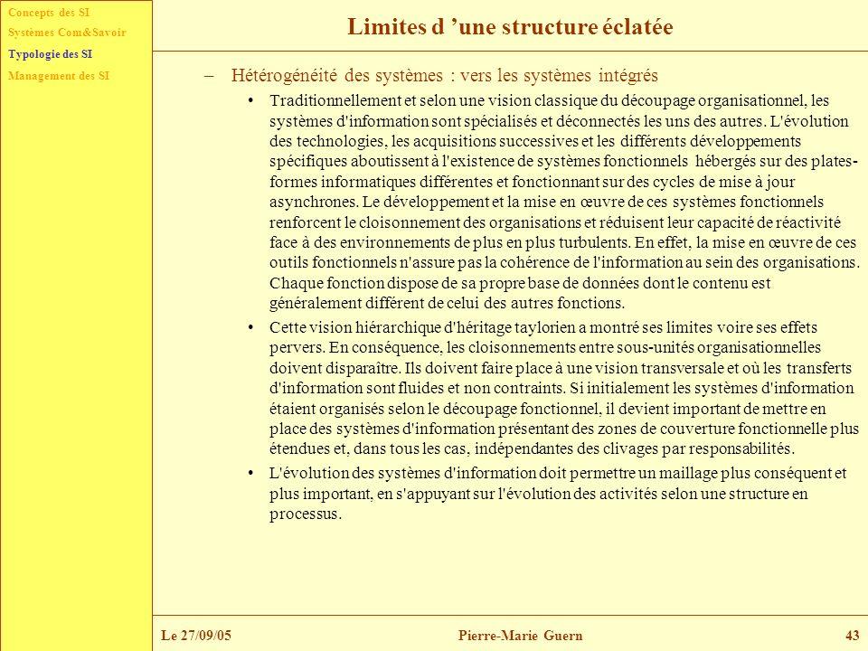 Concepts des SI Typologie des SI Management des SI Systèmes Com&Savoir Le 27/09/05Pierre-Marie Guern43 Limites d une structure éclatée –Hétérogénéité