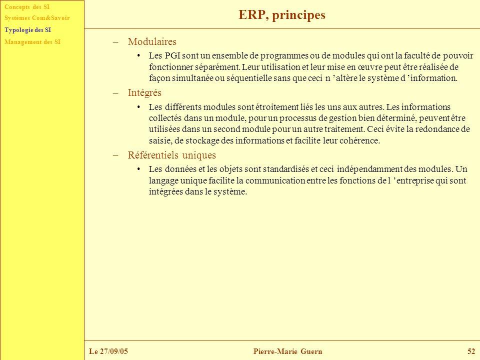 Concepts des SI Typologie des SI Management des SI Systèmes Com&Savoir Le 27/09/05Pierre-Marie Guern52 ERP, principes –Modulaires Les PGI sont un ense