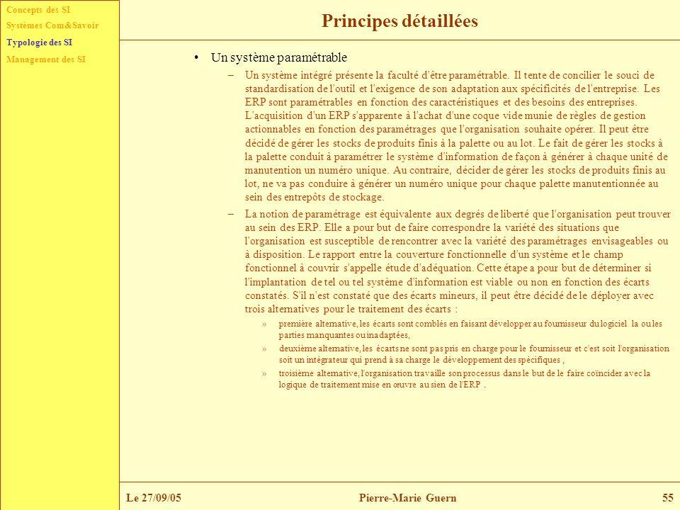 Concepts des SI Typologie des SI Management des SI Systèmes Com&Savoir Le 27/09/05Pierre-Marie Guern55 Principes détaillées Un système paramétrable –U