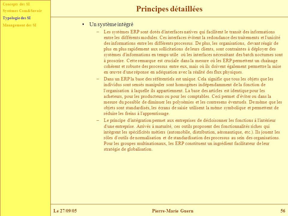Concepts des SI Typologie des SI Management des SI Systèmes Com&Savoir Le 27/09/05Pierre-Marie Guern56 Principes détaillées Un système intégré –Les sy
