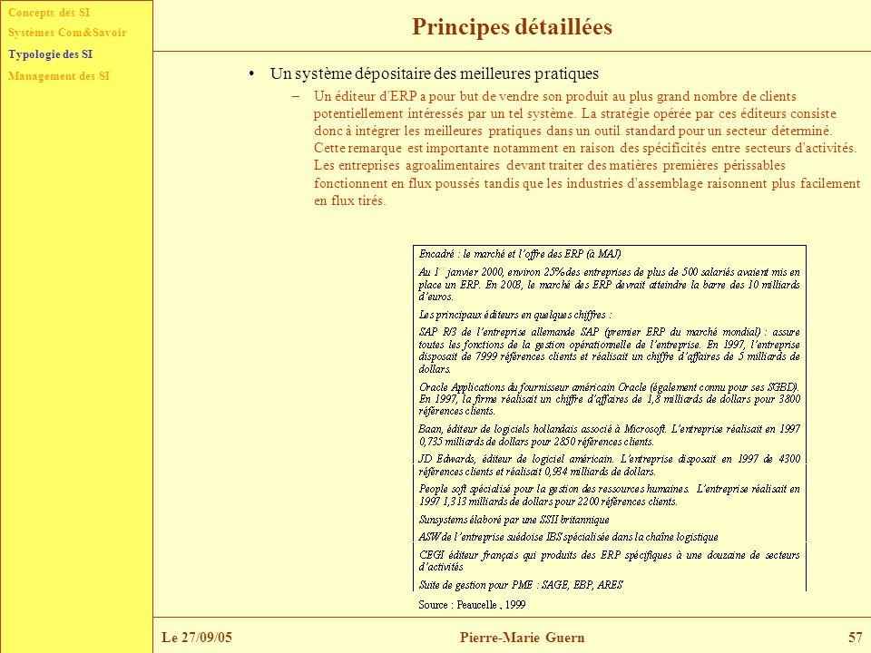 Concepts des SI Typologie des SI Management des SI Systèmes Com&Savoir Le 27/09/05Pierre-Marie Guern57 Principes détaillées Un système dépositaire des