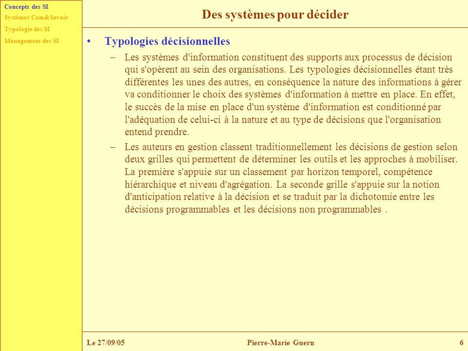 Typologie des SI Management des SI Systèmes Com&Savoir Le 27/09/05Pierre-Marie Guern6 Des systèmes pour décider Typologies décisionnelles –Les système