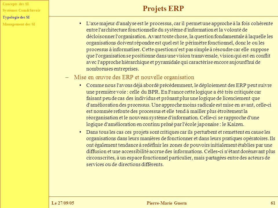 Concepts des SI Typologie des SI Management des SI Systèmes Com&Savoir Le 27/09/05Pierre-Marie Guern61 Projets ERP L'axe majeur d'analyse est le proce