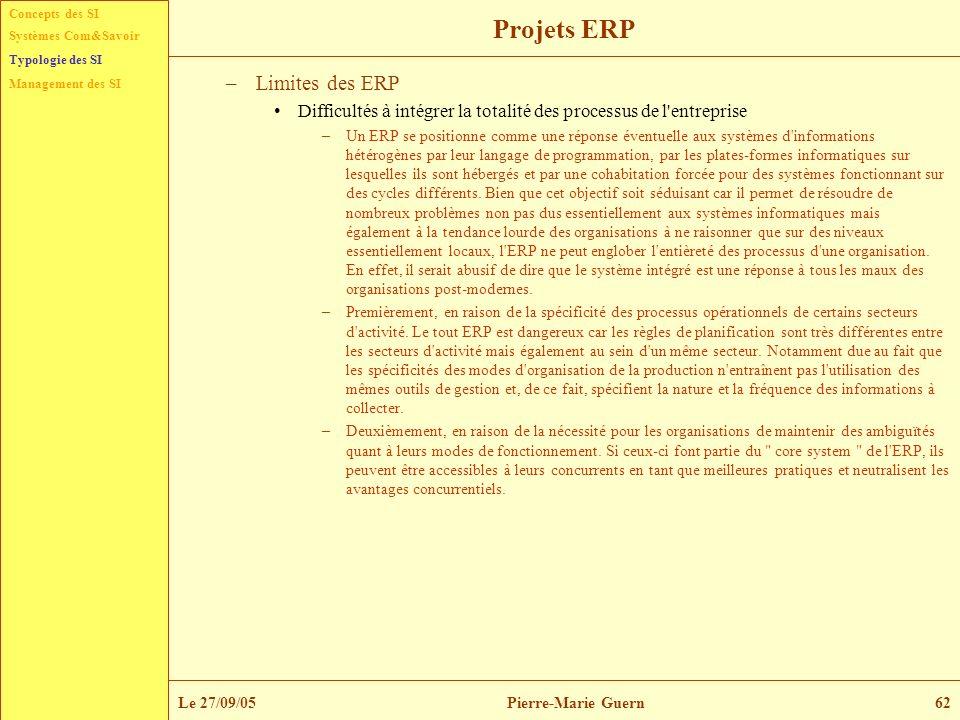 Concepts des SI Typologie des SI Management des SI Systèmes Com&Savoir Le 27/09/05Pierre-Marie Guern62 Projets ERP –Limites des ERP Difficultés à inté