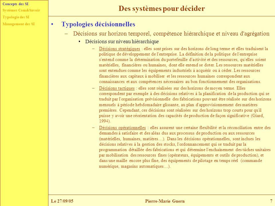 Typologie des SI Management des SI Systèmes Com&Savoir Le 27/09/05Pierre-Marie Guern7 Des systèmes pour décider Typologies décisionnelles –Décisions s
