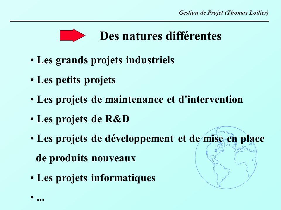 Des natures différentes Les grands projets industriels Les petits projets Les projets de maintenance et d'intervention Les projets de R&D Les projets