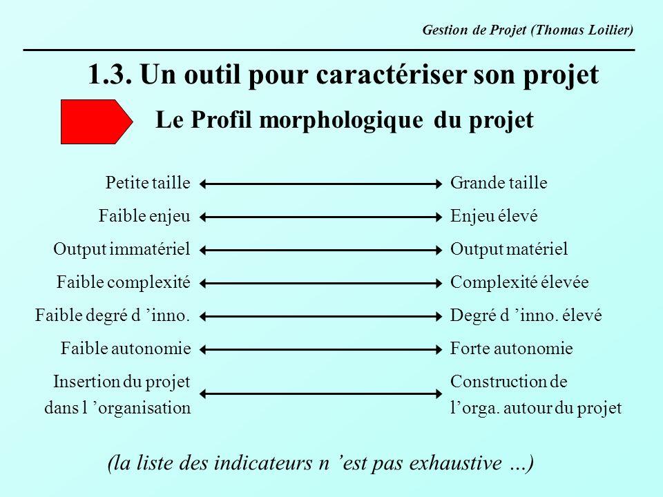 1.3. Un outil pour caractériser son projet Le Profil morphologique du projet Petite taille Faible enjeu Output immatériel Faible complexité Faible deg
