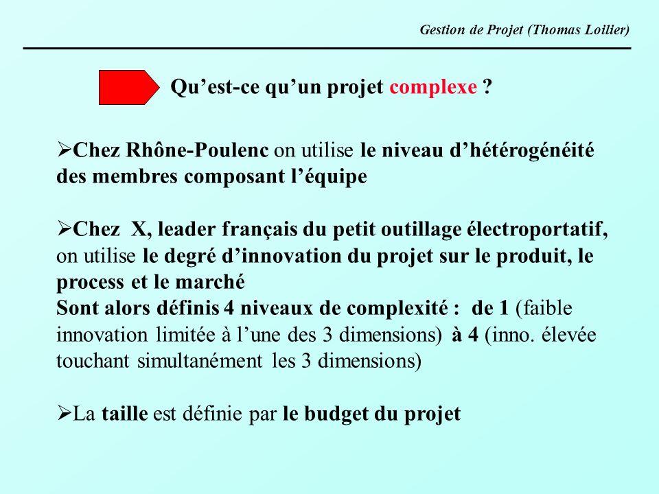 Quest-ce quun projet complexe ? Chez Rhône-Poulenc on utilise le niveau dhétérogénéité des membres composant léquipe Chez X, leader français du petit