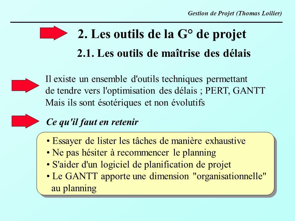 2. Les outils de la G° de projet 2.1. Les outils de maîtrise des délais Il existe un ensemble d'outils techniques permettant de tendre vers l'optimisa
