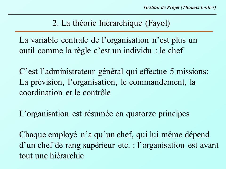 2. La théorie hiérarchique (Fayol) La variable centrale de lorganisation nest plus un outil comme la règle cest un individu : le chef Cest ladministra