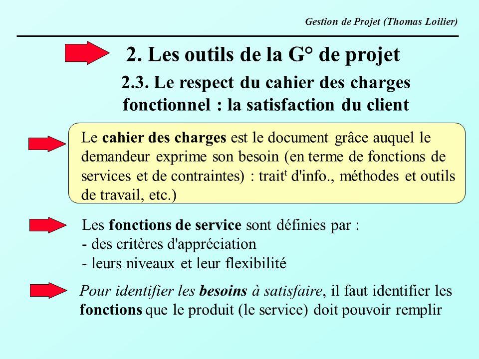 2. Les outils de la G° de projet 2.3. Le respect du cahier des charges fonctionnel : la satisfaction du client Le cahier des charges est le document g
