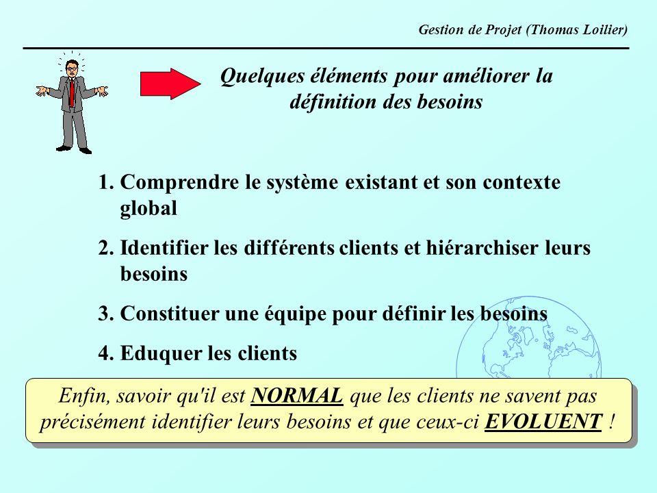 Quelques éléments pour améliorer la définition des besoins 1. Comprendre le système existant et son contexte global 2. Identifier les différents clien