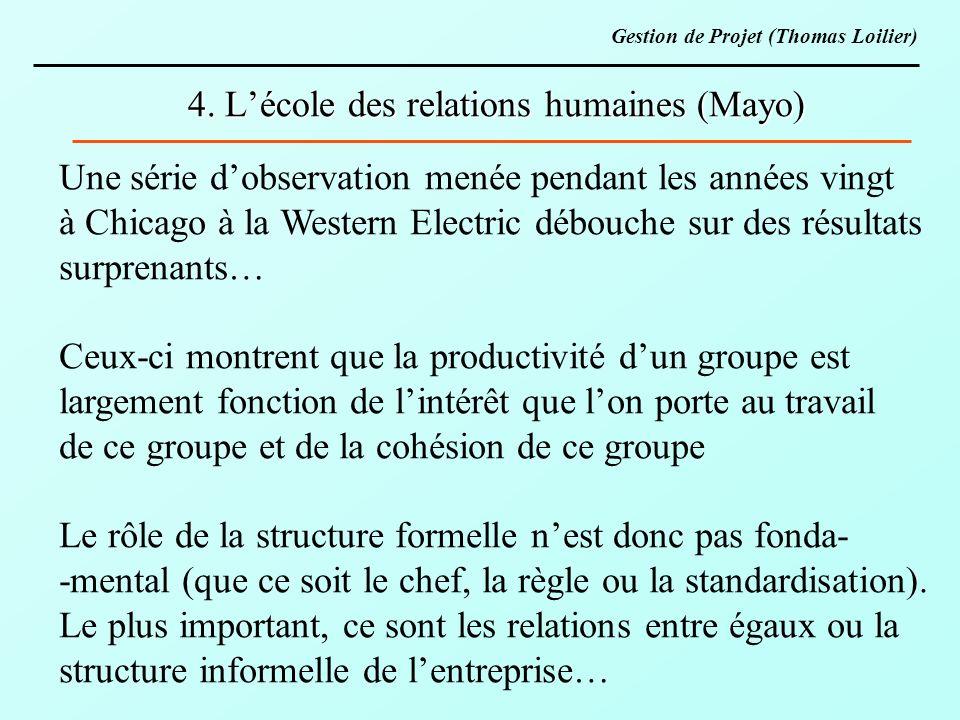4. Lécole des relations humaines (Mayo) Une série dobservation menée pendant les années vingt à Chicago à la Western Electric débouche sur des résulta