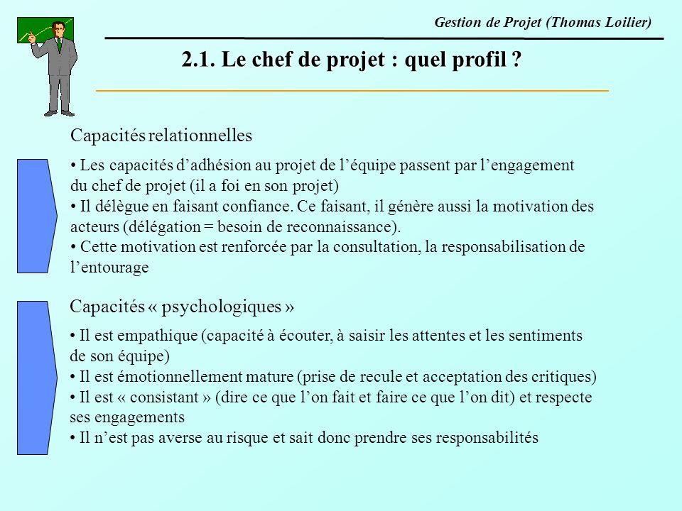 Capacités relationnelles 2.1. Le chef de projet : quel profil ? Les capacités dadhésion au projet de léquipe passent par lengagement du chef de projet