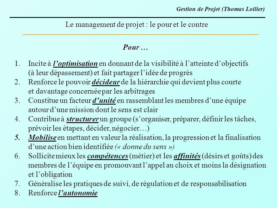 Le management de projet : le pour et le contre Pour … 1.Incite à loptimisation en donnant de la visibilité à latteinte dobjectifs (à leur dépassement)