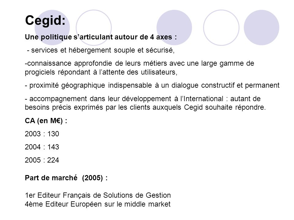 Cegid: Une politique sarticulant autour de 4 axes : - services et hébergement souple et sécurisé, -connaissance approfondie de leurs métiers avec une