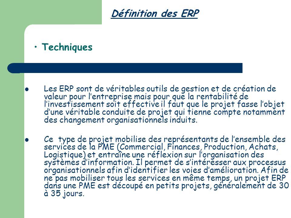 Définition des ERP Techniques Les ERP sont de véritables outils de gestion et de création de valeur pour lentreprise mais pour que la rentabilité de linvestissement soit effective il faut que le projet fasse lobjet dune véritable conduite de projet qui tienne compte notamment des changement organisationnels induits.