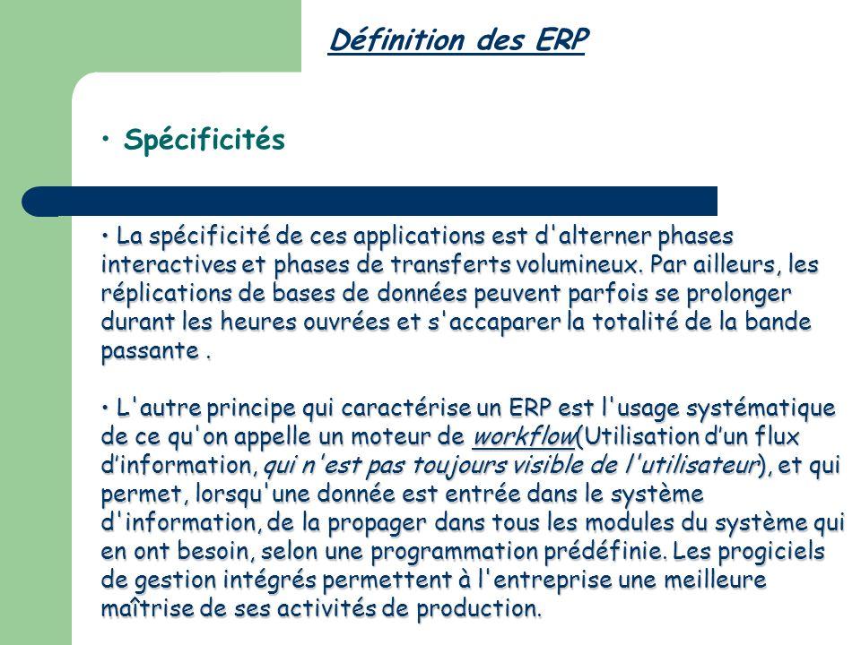 Définition des ERP Spécificités La spécificité de ces applications est d alterner phases interactives et phases de transferts volumineux.