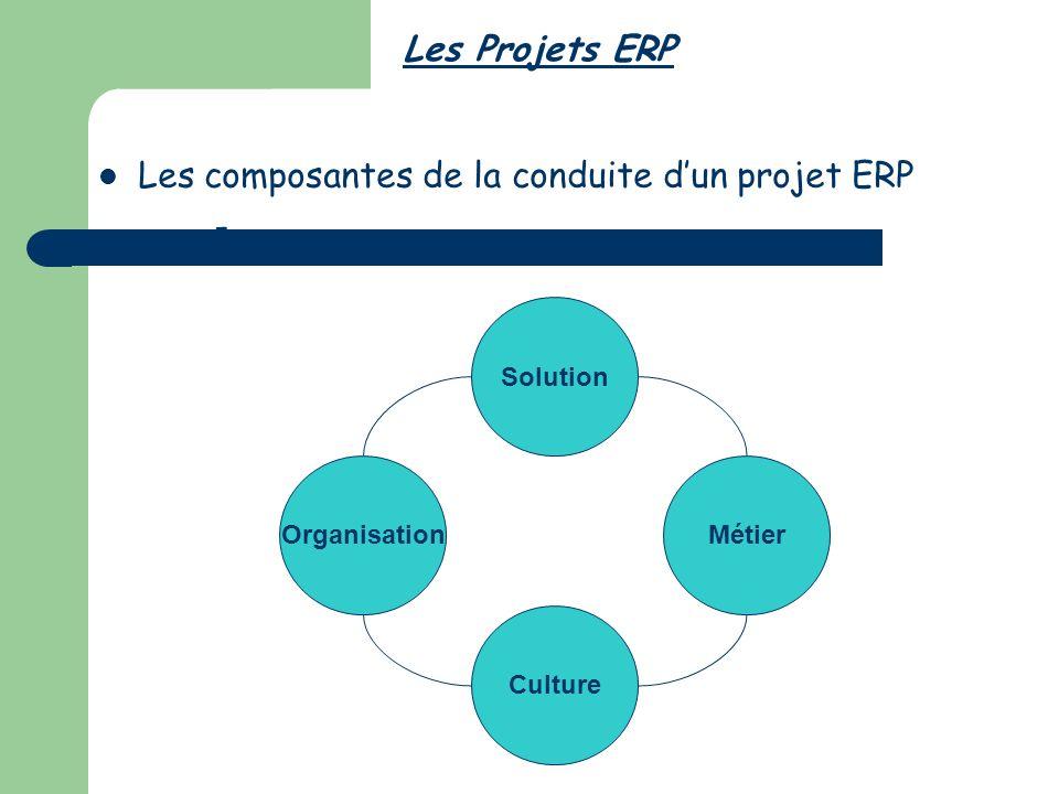 Les Projets ERP Les composantes de la conduite dun projet ERP - Organisation Culture Solution Métier