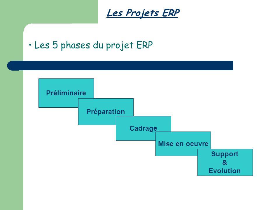 Les 5 phases du projet ERP Les Projets ERP Préliminaire Préparation Cadrage Mise en oeuvre Support & Evolution