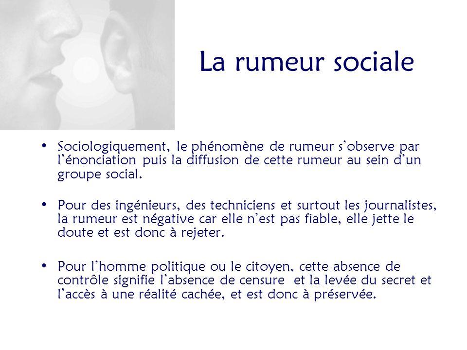 La rumeur sociale Sociologiquement, le phénomène de rumeur sobserve par lénonciation puis la diffusion de cette rumeur au sein dun groupe social.