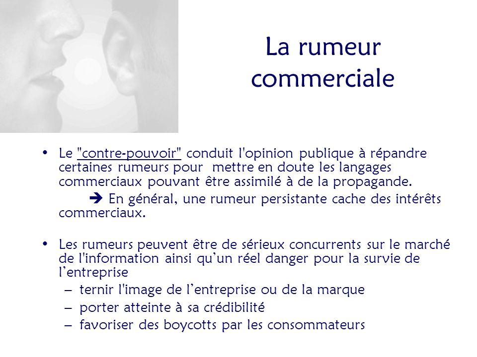 La rumeur commerciale Le contre-pouvoir conduit l opinion publique à répandre certaines rumeurs pour mettre en doute les langages commerciaux pouvant être assimilé à de la propagande.