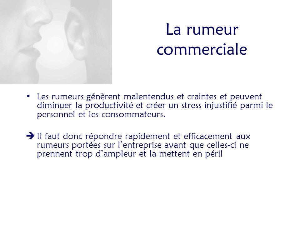 La rumeur commerciale Les rumeurs génèrent malentendus et craintes et peuvent diminuer la productivité et créer un stress injustifié parmi le personnel et les consommateurs.