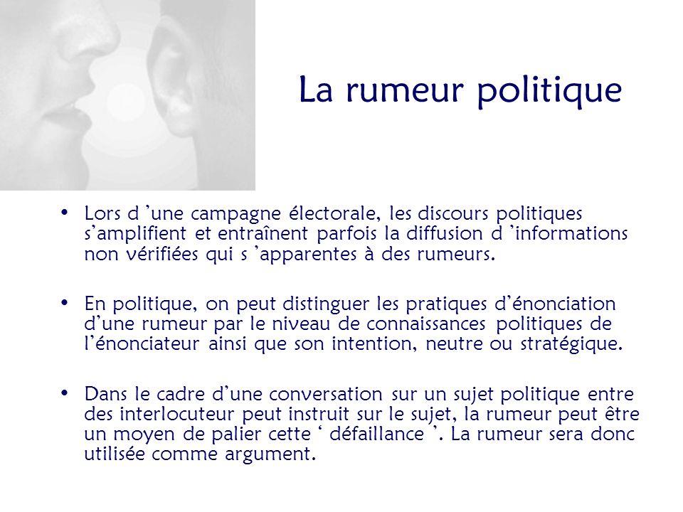 La rumeur politique Lors d une campagne électorale, les discours politiques samplifient et entraînent parfois la diffusion d informations non vérifiées qui s apparentes à des rumeurs.