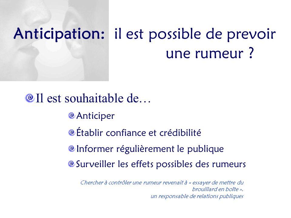 Anticipation: il est possible de prevoir une rumeur ? Il est souhaitable de… Anticiper Établir confiance et crédibilité Informer régulièrement le publ