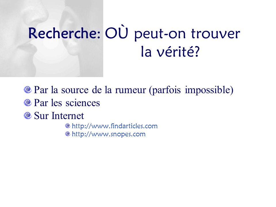 Recherche: OÙ peut-on trouver la vérité? Par la source de la rumeur (parfois impossible) Par les sciences Sur Internet http://www.findarticles.com htt